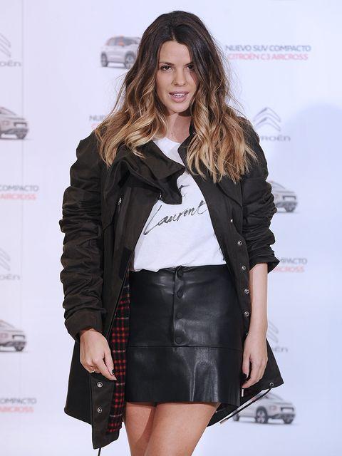 Clothing, Fashion model, Black, Fashion, Leather, Outerwear, Jacket, Beauty, Leather jacket, Fashion show,