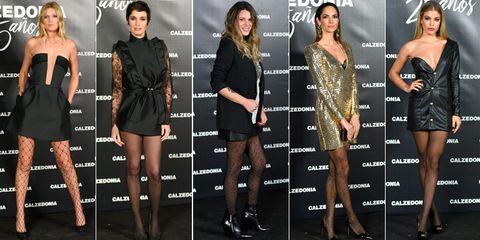 Fashion model, Clothing, Dress, Little black dress, Cocktail dress, Fashion, Shoulder, Joint, Carpet, Leg,