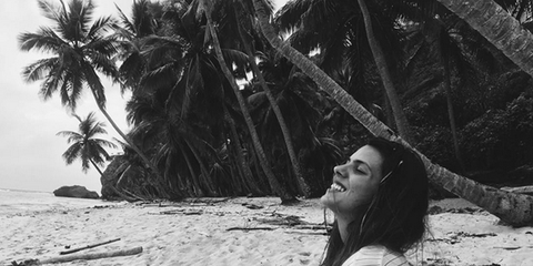 Sand, Summer, Woody plant, Vacation, Arecales, Black hair, Beauty, Beach, Monochrome, Tropics,