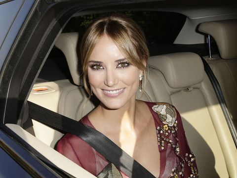 Nose, Smile, Mouth, Vehicle door, Car seat, Luxury vehicle, Car seat cover, Head restraint, Eyelash, Blond,