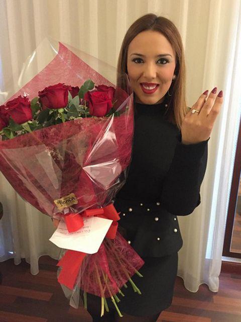 Pink, Red, Flower, Plant, Costume, Interior design, Bouquet, Rose, Brown hair,