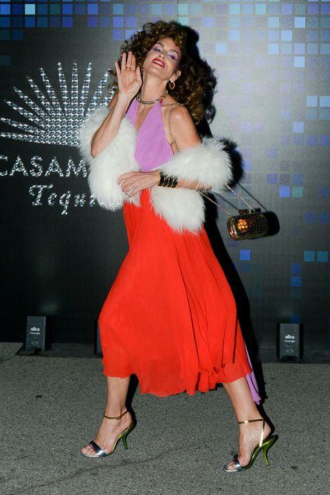 Clothing, Dress, Fashion, Leg, Footwear, Fun, Event, Performance, Fur, High heels,