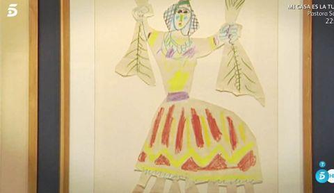 Yellow, Costume design, Pink, Dress, Fashion design, Fashion illustration, Drawing, Illustration, Room, Textile,