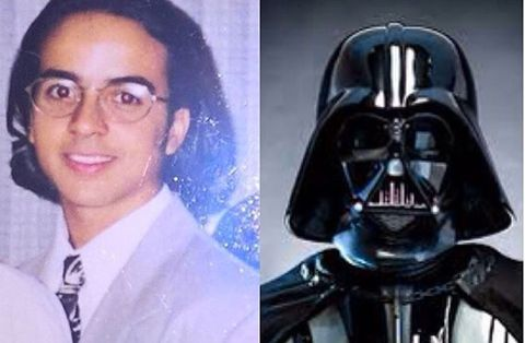 Darth vader, Glasses, Vision care, Forehead, Eyebrow, Fictional character, Collar, Supervillain, Jaw, Toy,