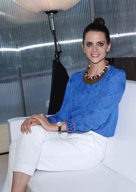 Blue, Clothing, Shoulder, Fashion, Fashion design, Leg, Sitting, Neck, Electric blue, Photography,