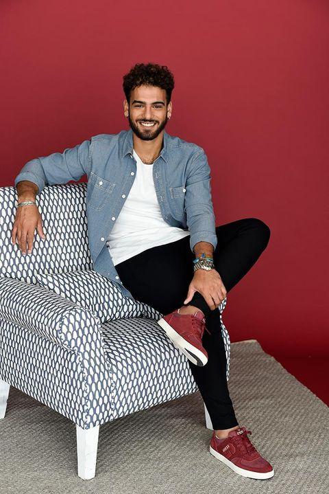 Sitting, Red, Furniture, Footwear, Fashion, Shoe, Photo shoot, Leg, Photography, Sportswear,