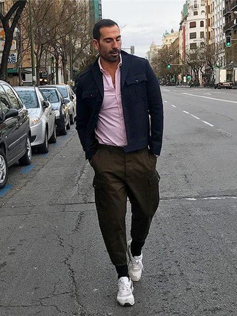 Road, Trousers, Infrastructure, Outerwear, Street, Asphalt, Style, Urban area, Street fashion, Beard,