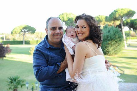 Photograph, Facial expression, Bride, Ceremony, Wedding dress, Yellow, Wedding, Bridal clothing, Dress, Event,