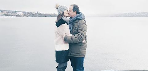 Photograph, Hug, Interaction, Winter, Snow, Cheek, Love, Freezing, Gesture, Romance,