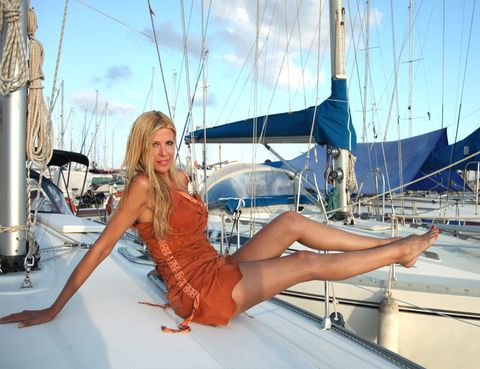 Human leg, Summer, Dress, Thigh, Beauty, Muscle, High heels, Boat, Electric blue, Knee,