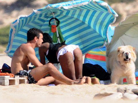 Dog breed, Human body, Dog, Mammal, Leisure, Summer, Carnivore, Dog supply, Vacation, Barechested,