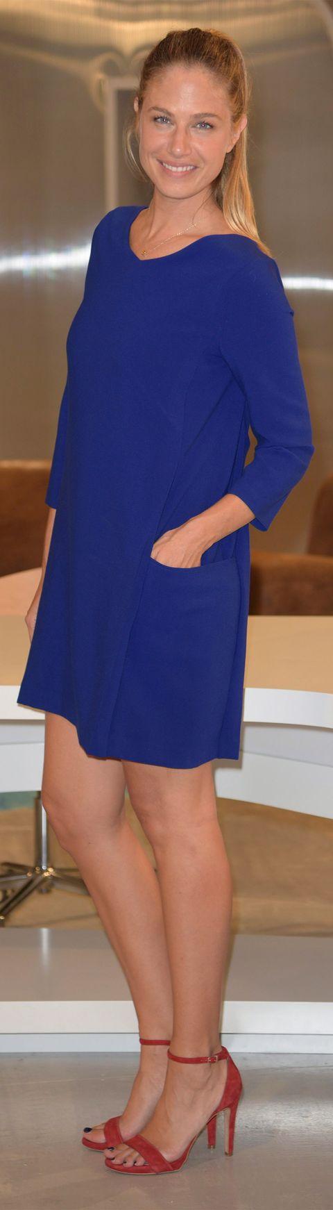 Cobalt blue, Clothing, Blue, Electric blue, Human leg, Shoulder, Dress, Leg, High heels, Footwear,