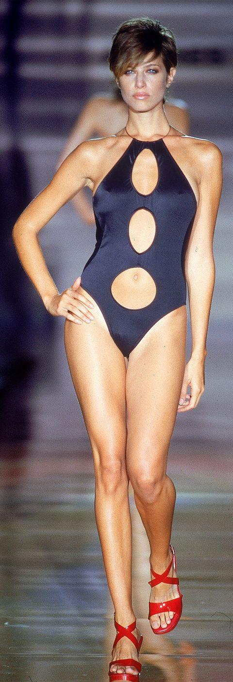 Clothing, Leotard, Fashion model, One-piece swimsuit, Monokini, Thigh, Swimwear, Sportswear, Fashion, Leg,