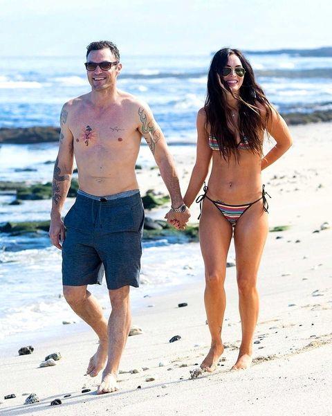 Clothing, Eyewear, Leg, Fun, People on beach, Human body, Brassiere, Photograph, Standing, Summer,