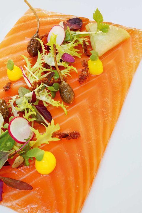 Orange, Food, Cuisine, Sashimi, Lox, Fish slice, Smoked salmon, Garnish, Crudo, Ingredient,