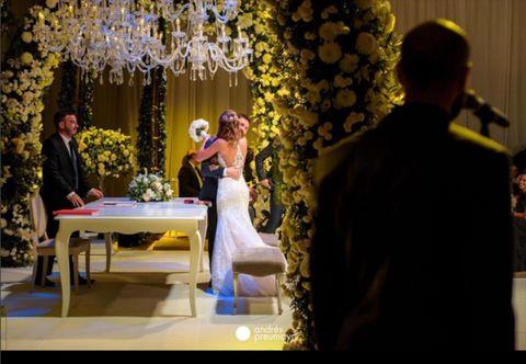 Yellow, Marriage, Event, Ceremony, Wedding, Dress, Floral design, Flower, Wedding reception, Interior design,