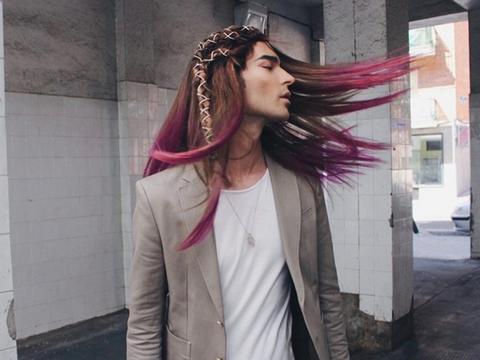 Hair, Pink, Clothing, Hairstyle, Street fashion, Long hair, Cool, Hair coloring, Fashion, Beauty,