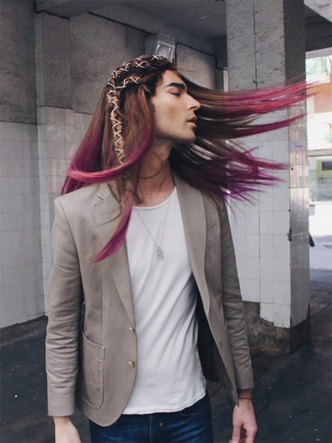 Hair, Pink, Clothing, Street fashion, Jacket, Cool, Hairstyle, Fashion, Beauty, Outerwear,