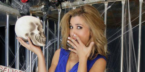 Skull, Dress, Organ, Bone, Eyelash, Blond, Day dress, Long hair, Baseball equipment, Makeover,