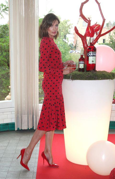 Dress, Red, Shoe, Joint, One-piece garment, High heels, Carmine, Day dress, Maroon, Foot,