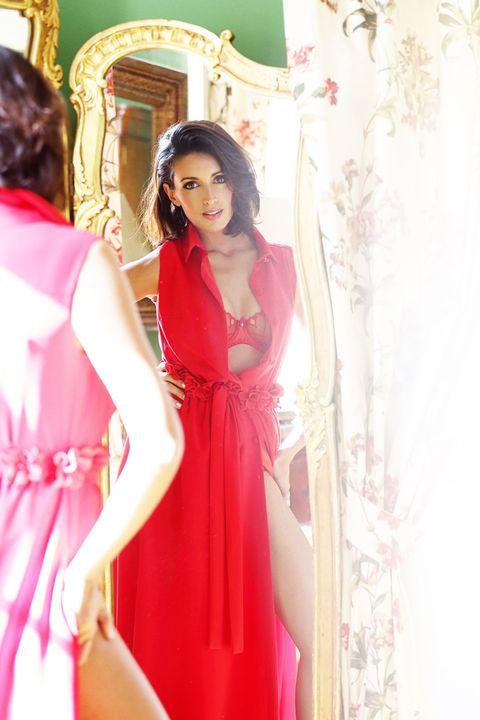 Dress, Textile, Red, Pink, Formal wear, One-piece garment, Interior design, Peach, Fashion, Magenta,