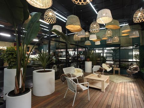 Interior design, Building, Lobby, Lighting, Ceiling, Restaurant, Room, Floor, Design, Table,