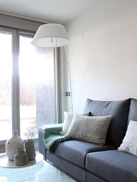 Room, Interior design, Lampshade, Floor, Wall, Living room, Couch, Furniture, Lamp, Interior design,