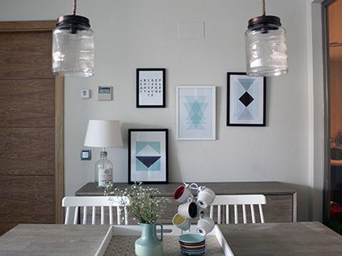 Room, Wall, Serveware, Table, Furniture, Interior design, Interior design, Turquoise, Teal, Light fixture,