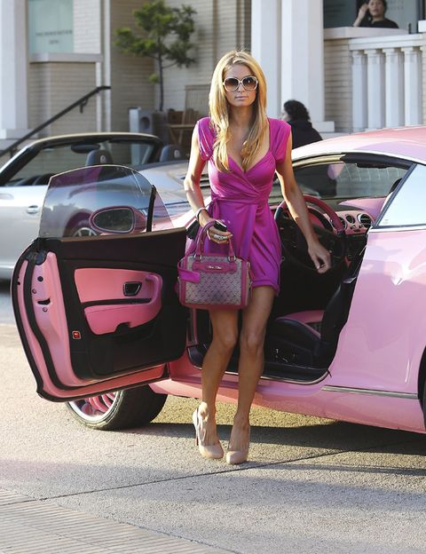 Eyewear, Automotive design, Vehicle, Land vehicle, Dress, Car, Pink, Magenta, Sunglasses, Bag,