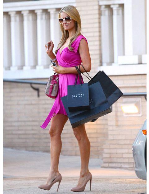 Clothing, Shoulder, Bag, Sunglasses, Dress, Pink, Magenta, Street fashion, Purple, Fashion,