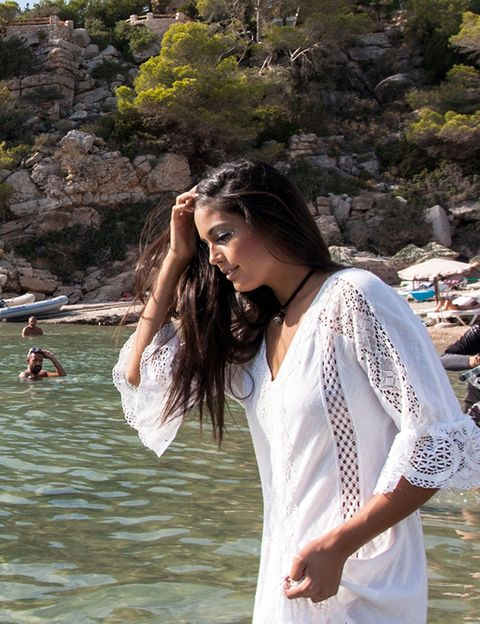 Clothing, Shoulder, Leisure, Summer, Tourism, Beauty, Vacation, Long hair, Street fashion, Outcrop,
