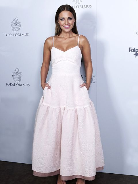 Clothing, Dress, White, Shoulder, Gown, Fashion, Pink, Beauty, Bridal party dress, Hairstyle,