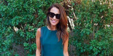 Eyewear, Green, Clothing, Street fashion, Turquoise, Sunglasses, Shoulder, Fashion, Glasses, Dress,