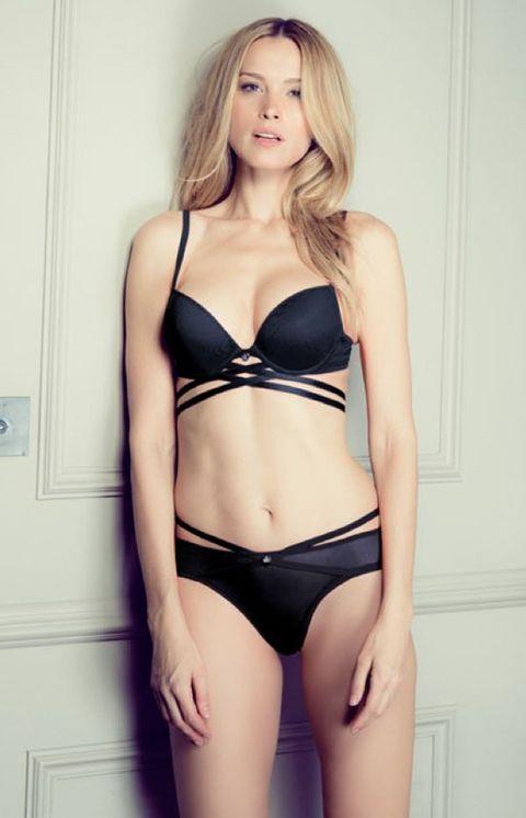 Brassiere, Shoulder, Swimsuit top, Joint, Waist, Swimsuit bottom, Undergarment, Chest, Lingerie, Thigh,