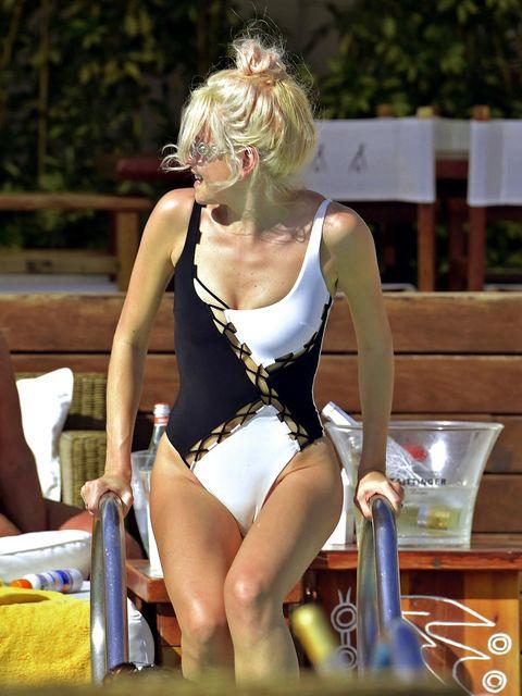 Leotard, Sportswear, One-piece swimsuit, Maillot, Swimwear, Thigh, Chest, Blond, Monokini, Spandex,