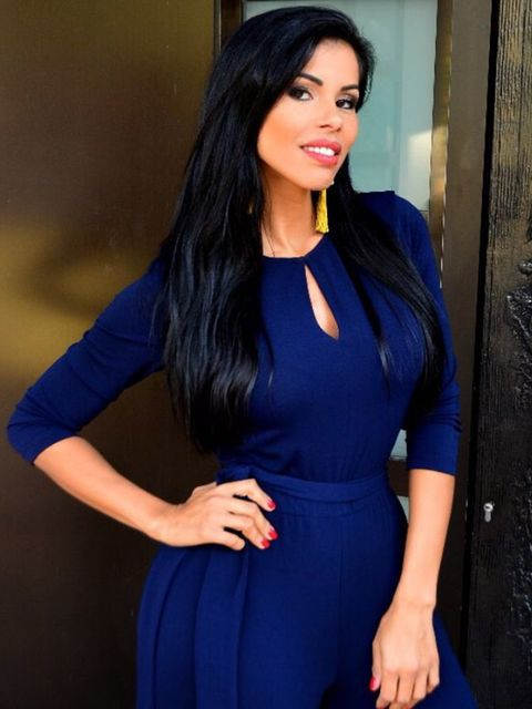 Clothing, Blue, Hairstyle, Sleeve, Shoulder, Dress, Joint, Style, Electric blue, Formal wear,
