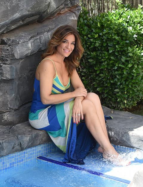 Blue, Sitting, Water, Beauty, Photo shoot, Leg, Summer, Long hair, Leisure, Swimming pool,