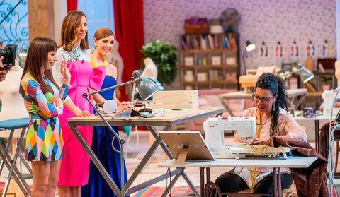 Table, Furniture, Dress, Sunglasses, Dressmaker, Houseplant, Tailor, Outdoor table, One-piece garment, Creative arts,