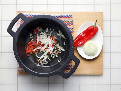 Food, Dish, Cuisine, Ingredient, Cookware and bakeware, Wok, Frying pan, Recipe, Vegetable, Produce,