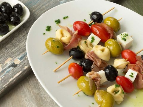 Dish, Food, Cuisine, Ingredient, Salad, Fruit salad, Greek salad, Skewer, Olive, Produce,