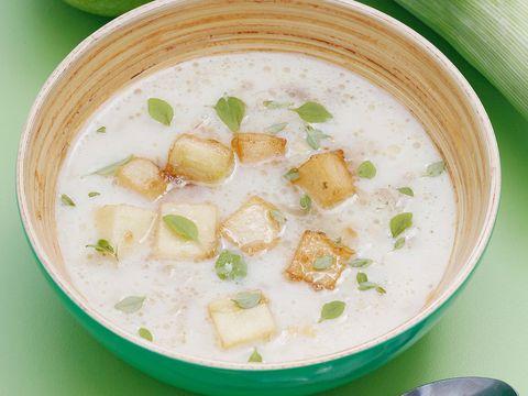 Dish, Food, Cuisine, Ingredient, Soup, Congee, Leek soup, Chowder, Tom kha kai, Clam chowder,