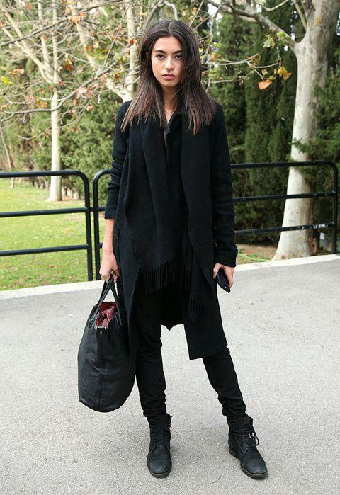 Clothing, Brown, Sleeve, Textile, Outerwear, Style, Bag, Street fashion, Winter, Fashion model,