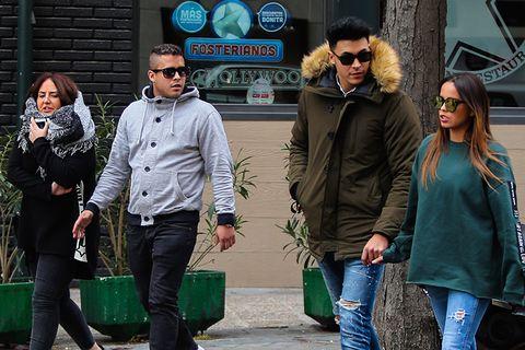 Green, People, Human, Street, Eyewear, Sunglasses, Jacket, Glasses, Jeans, Outerwear,