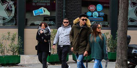 Photograph, People, Green, Standing, Street fashion, Pedestrian, Snapshot, Urban area, Street, Fashion,