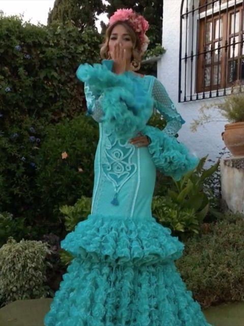 Clothing, Dress, Flowerpot, Formal wear, Teal, Gown, Aqua, Petal, Victorian fashion, Turquoise,