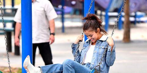 Jeans, Swing, Blue, Denim, Snapshot, Sitting, Fun, Child, Street fashion, Footwear,