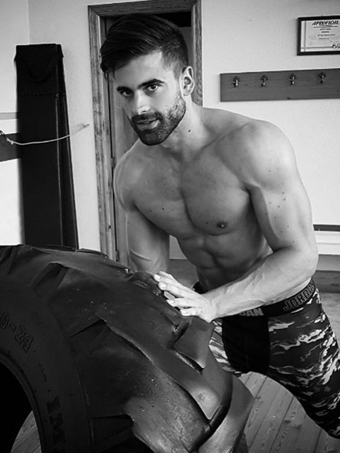 Barechested, Black, Muscle, Chest, Bodybuilding, Arm, Model, Tire, Automotive design, Room,