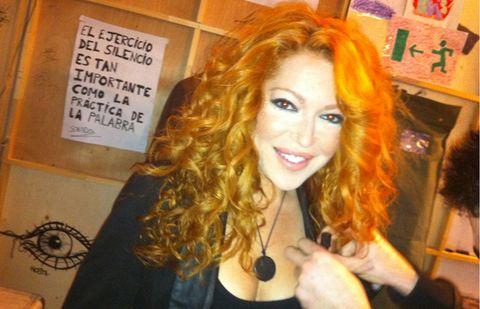 Hairstyle, Eyebrow, Amber, Feathered hair, Long hair, Hair coloring, Red hair, Blond, Eyelash, Layered hair,