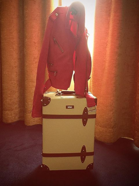 Orange, Red, Standing, Peach, Bag, Hand luggage, Luggage and bags,
