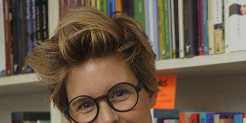 Eyewear, Glasses, Vision care, Shelf, Hairstyle, Chin, Forehead, Eyebrow, Bookcase, Shelving,
